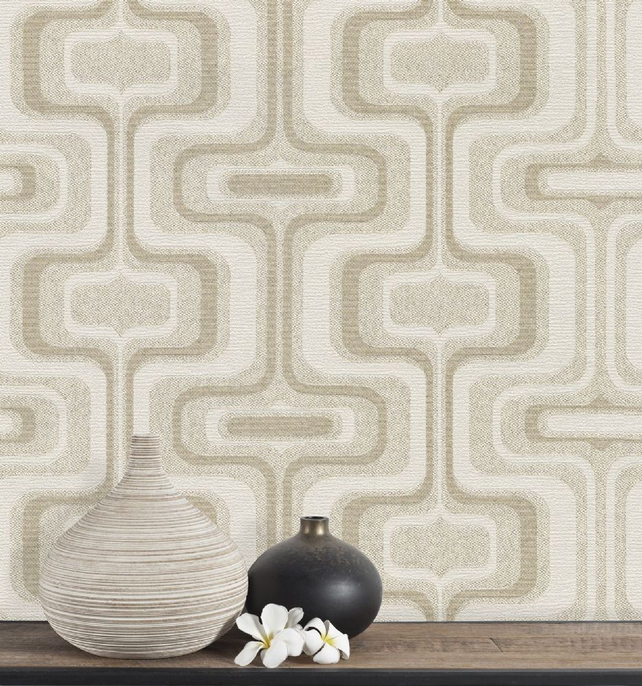 Belgravia San Remo Retro Geometric Natural 6511 Wallpaper